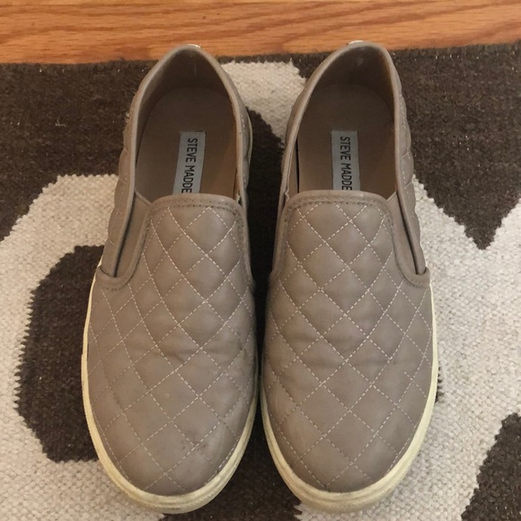 Steve Madden Slip Ons Taupe Quilted